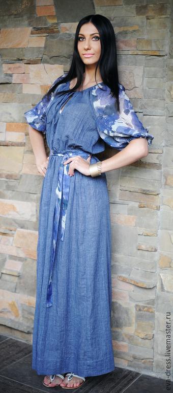"""Платья ручной работы. Ярмарка Мастеров - ручная работа. Купить Платье летнее из льна и хлопка. Платье длинное """"Голубая акварель"""". Handmade."""
