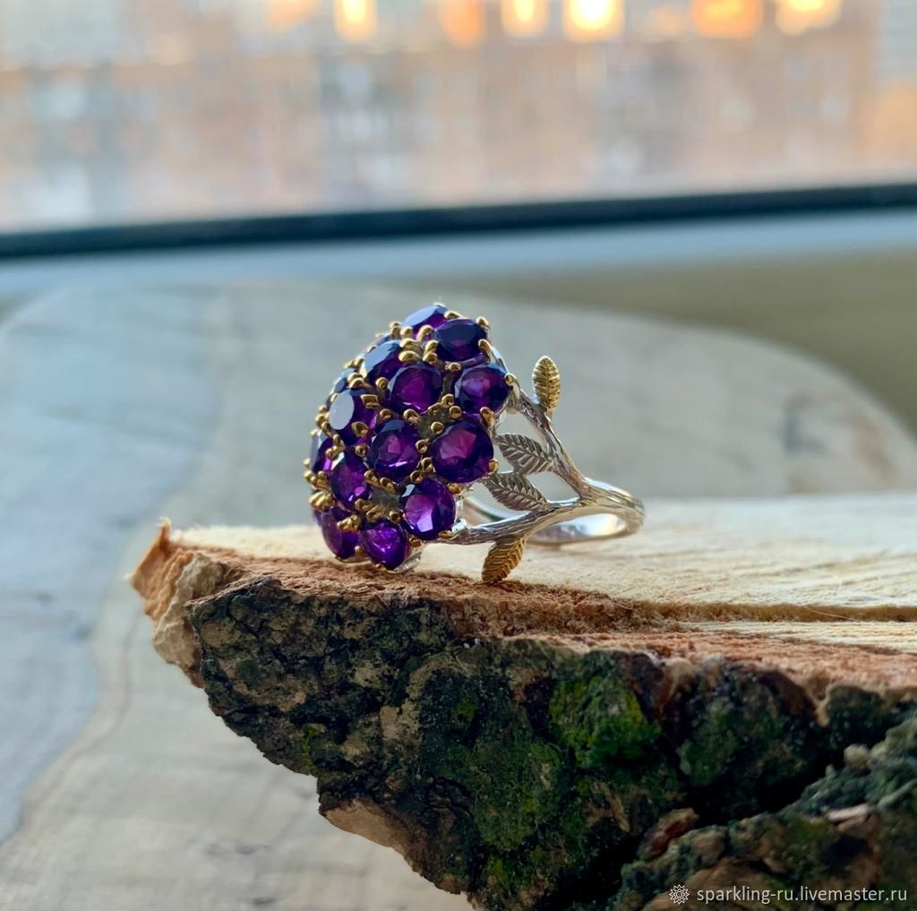 Large silver ring with natural amethyst, size 18,5, Rings, Moscow,  Фото №1