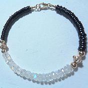 Украшения handmade. Livemaster - original item Bracelet 585 gold with moonstone and spinel AA. Handmade.