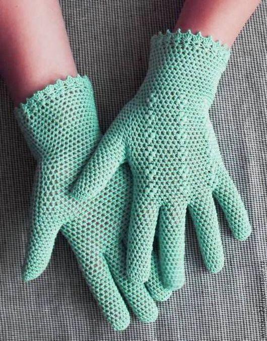 """Варежки, митенки, перчатки ручной работы. Ярмарка Мастеров - ручная работа. Купить Перчатки  ажурные """" Мика"""". Handmade. Мятный"""