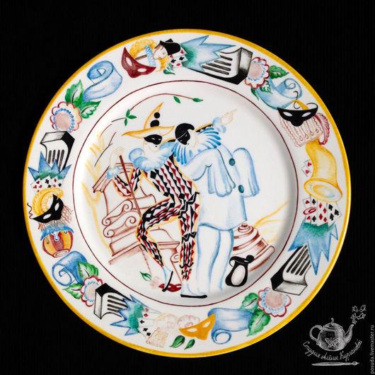 """Тарелки ручной работы. Ярмарка Мастеров - ручная работа. Купить Арлекиниада"""" блюдо фарфоровое. Handmade. Арлекиниада, посуда с росписью"""