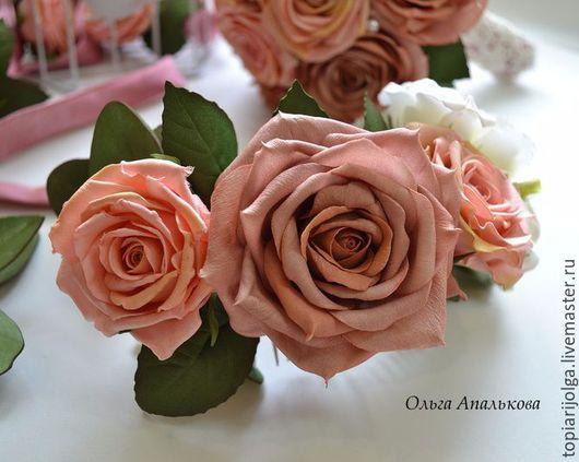 Свадебные украшения ручной работы. Ярмарка Мастеров - ручная работа. Купить Гребень с цветами для невесты. Handmade. Фоамиран, гребень для волос