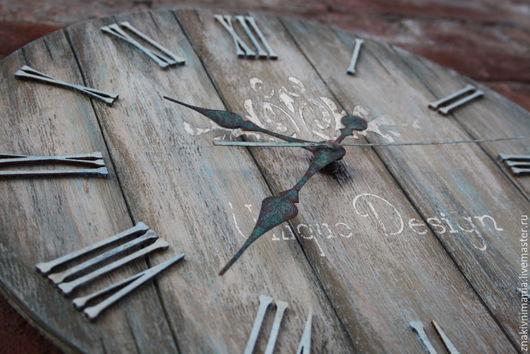 Большие настенные часы, часы в винтажном стиле ручной работы, диаметр 40 см.  Large wall clock, vintage style handmade, diameter 40 cm.