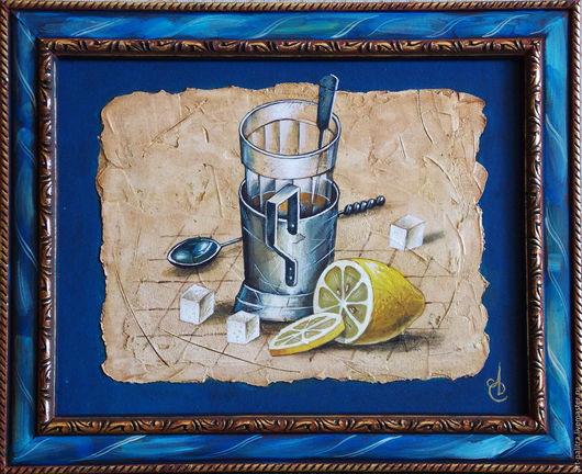 Натюрморт ручной работы. Ярмарка Мастеров - ручная работа. Купить чай с лимоном. Handmade. Натюрморт для кухни, стакан ручной работы