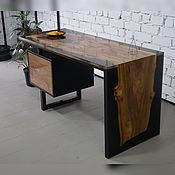 Для дома и интерьера handmade. Livemaster - original item Working table made of slab of elm in resin filling. Handmade.