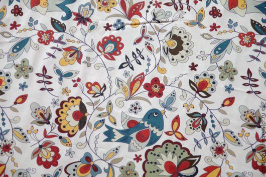 """Шитье ручной работы. Ярмарка Мастеров - ручная работа. Купить Ткань хлопок """"Птичий сад"""" В НАЛИЧИИ. Handmade. Белый"""