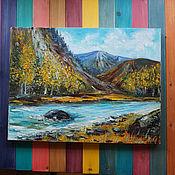 Картины и панно ручной работы. Ярмарка Мастеров - ручная работа Горная река. Handmade.