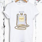 Одежда handmade. Livemaster - original item Perfume print cotton t-shirt-TEE10005CT. Handmade.
