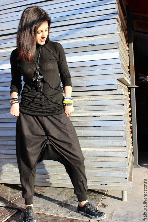 Брюки, шорты ручной работы. Ярмарка Мастеров - ручная работа. Купить Льняные /  трикотажные  брюки P0004. Handmade. Черный