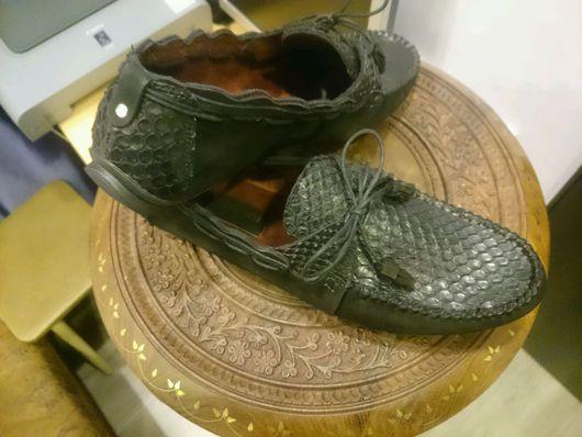 """Обувь ручной работы. Ярмарка Мастеров - ручная работа. Купить Мужские """"Мокассин ШН"""" из питона. Handmade. Мокасины мужские"""