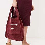Сумки и аксессуары handmade. Livemaster - original item Burgundy suede Bag Bag medium Package string Bag shopper t shirt Bag. Handmade.