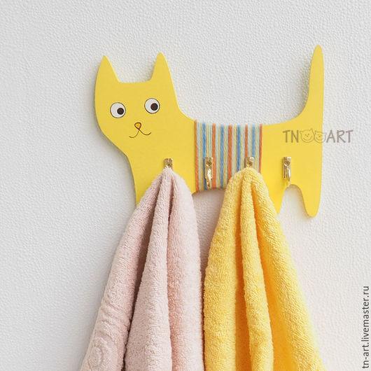 """Прихожая ручной работы. Ярмарка Мастеров - ручная работа. Купить """"Солнечный кот"""" настенная вешалка ключница. Handmade. Настенная вешалка"""
