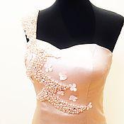 Одежда ручной работы. Ярмарка Мастеров - ручная работа PARADI платье из шелкового атласа со шлейфом. Handmade.