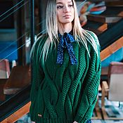 Одежда handmade. Livemaster - original item Jerseys: Women`s knitted jumper oversize green color. Handmade.