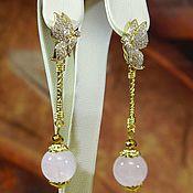 Украшения handmade. Livemaster - original item Butterfly earrings natural rose quartz.. Handmade.