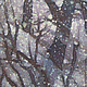 Пейзаж ручной работы. Картина Снегопад, на х/б ткани в технике горячего батика. Мария. Ярмарка Мастеров. Батик воском