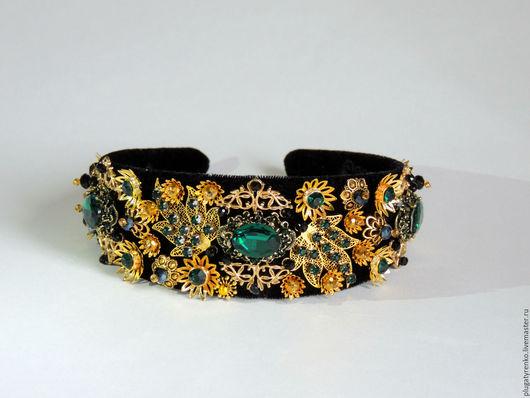 Диадемы, обручи ручной работы. Ярмарка Мастеров - ручная работа. Купить Тиара для волос в стиле D&G Emerald Queen. Handmade.