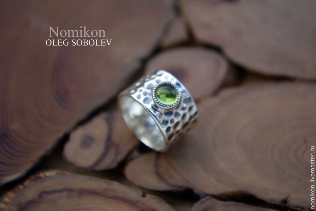 Forged silver ring with chrysolite, Rings, St. Petersburg,  Фото №1