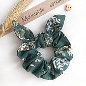Украшения handmade. Livemaster - original item Fabric volume elastic band for hair, emerald color. Handmade.