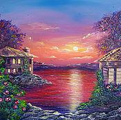 Картины и панно ручной работы. Ярмарка Мастеров - ручная работа Залив на закате (светится в темноте). Handmade.