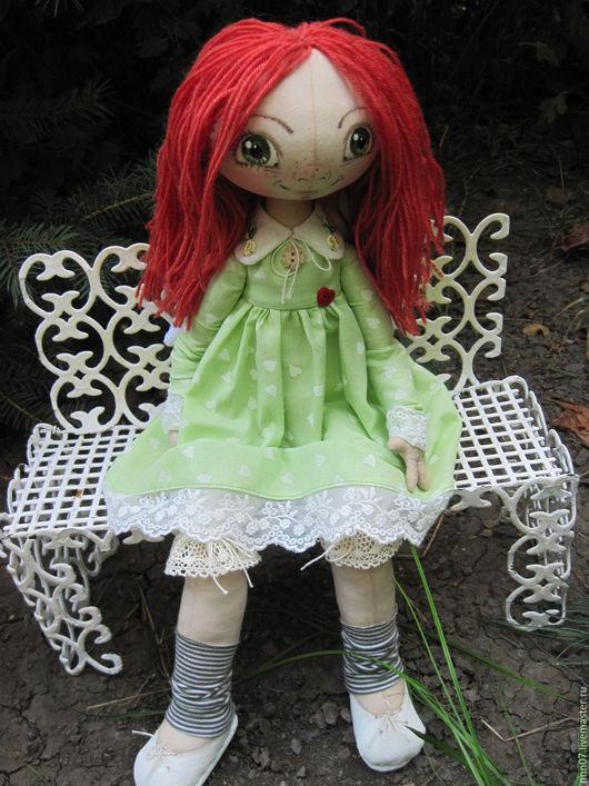Куклы тыквоголовки ручной работы. Ярмарка Мастеров - ручная работа. Купить Ангел. Handmade. Салатовый, рыжая девочка, кукла текстильная