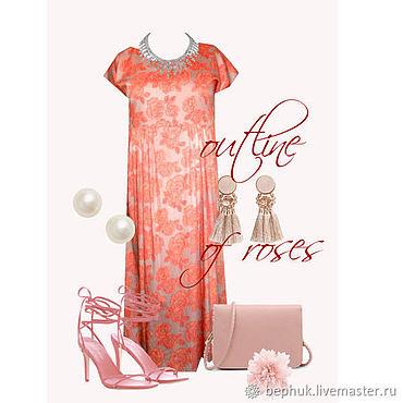 """Одежда ручной работы. Ярмарка Мастеров - ручная работа Платье """"Контур роз"""" из сатина. Handmade."""
