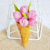 """Украшения ручной работы. Ярмарка Мастеров - ручная работа Брошь с тюльпанами """"Тюльпановое мороженое"""". Handmade."""