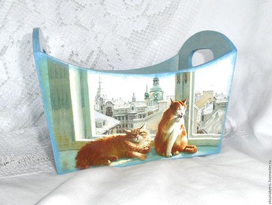 Корзины, коробы ручной работы. Ярмарка Мастеров - ручная работа. Купить Короб для хранения Городские коты. Handmade. Короб для хранения