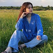 Одежда handmade. Livemaster - original item Jackets: Summer jacket in the color of blue sky made of pure cotton oversize. Handmade.