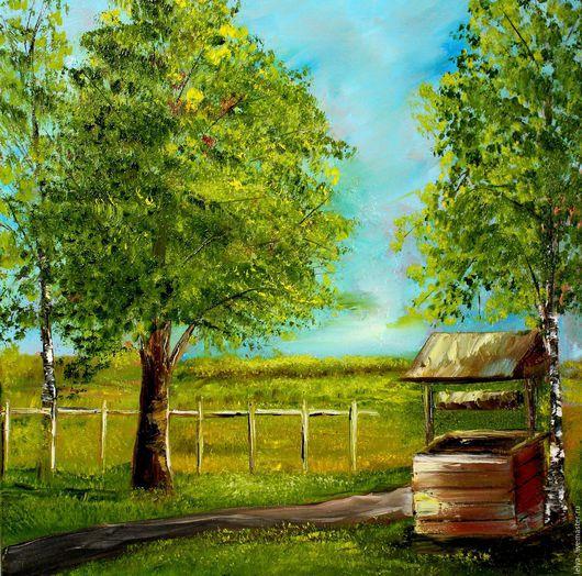Пейзаж ручной работы. Ярмарка Мастеров - ручная работа. Купить Картина маслом  Деревня. Handmade. Картина, картина в подарок
