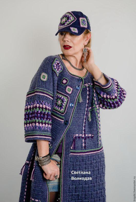 """Верхняя одежда ручной работы. Ярмарка Мастеров - ручная работа. Купить Пальто вязаное авторское """"Звездное небо"""". Handmade."""