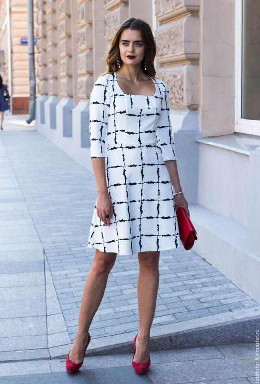 Платья ручной работы. Ярмарка Мастеров - ручная работа. Купить Лондон. Handmade. Чёрно-белый, клетчатое платье, платье миди