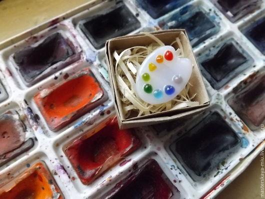"""Броши ручной работы. Ярмарка Мастеров - ручная работа. Купить брошь """"Палитра"""". Handmade. Палитра, для художника, Фьюзинг, стекло"""