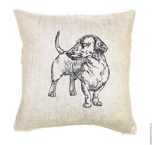 """Текстиль, ковры ручной работы. Ярмарка Мастеров - ручная работа. Купить Льняная подушка """"Такса"""". Handmade. Серый, любителям собак"""