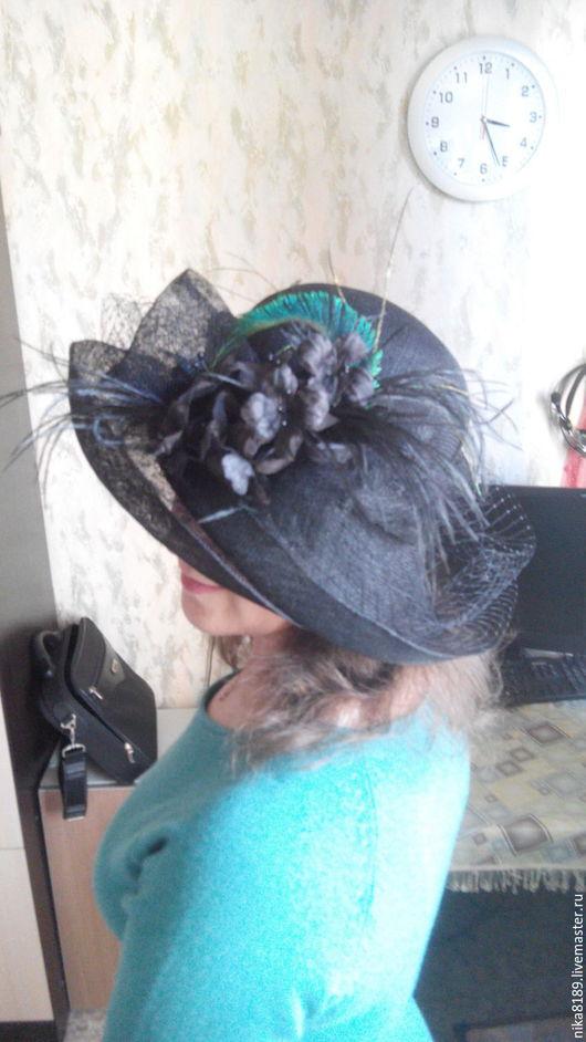 """Шляпы ручной работы. Ярмарка Мастеров - ручная работа. Купить Шляпка из синамей """"Царица ночи"""". Handmade. Черный, широкополая шляпа"""