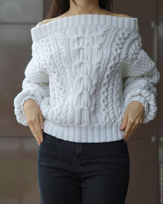 Кофты и свитера ручной работы. Ярмарка Мастеров - ручная работа. Купить Свитер в стиле Рубан. Handmade. Белый, косы