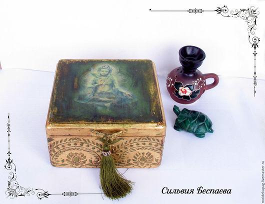 Деревянная шкатулка для украшений Сокровища принцессы размер 15*15*8