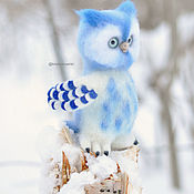 handmade. Livemaster - original item Owl Moon felted toy. Handmade.