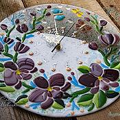 """Для дома и интерьера ручной работы. Ярмарка Мастеров - ручная работа Часы """"Розовые Орхидеи"""", стекло, фьюзинг. Handmade."""