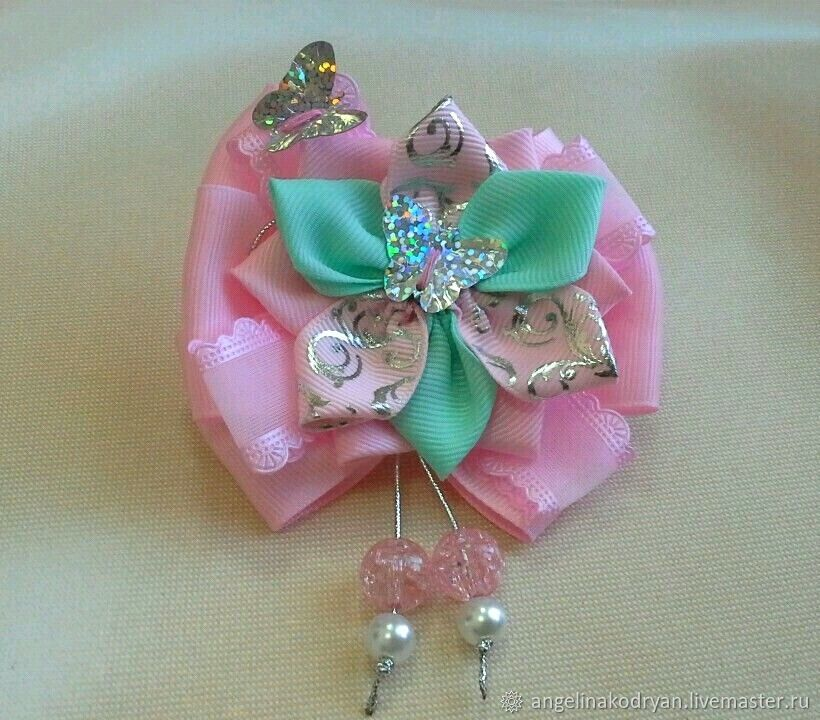 Pink-mint bows with silver butterflies, , Belgorod, Фото №1