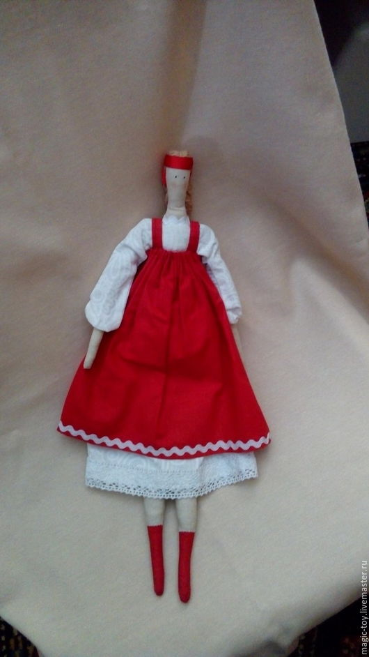 Кукла Тильда в русском сарафане, ручная работа, оригинальный тематический подарок