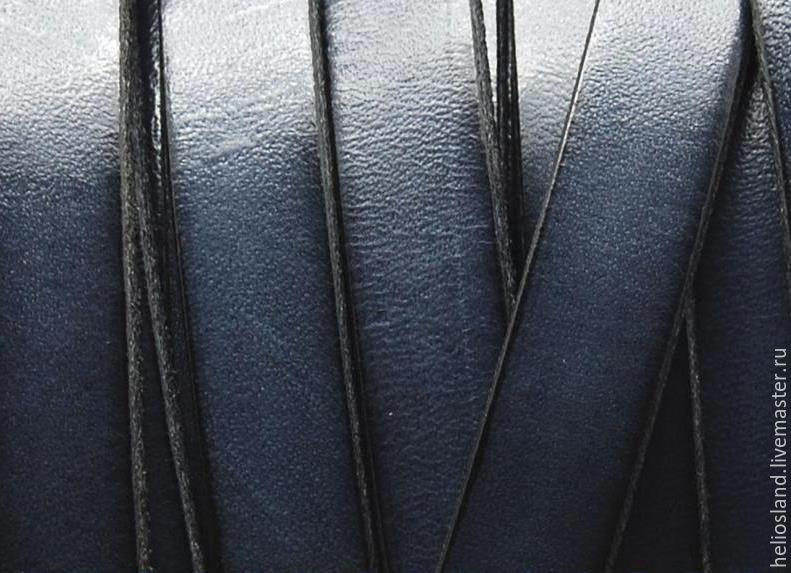Кожаный шнур плоский 10 мм, серый, Шнуры, Москва,  Фото №1