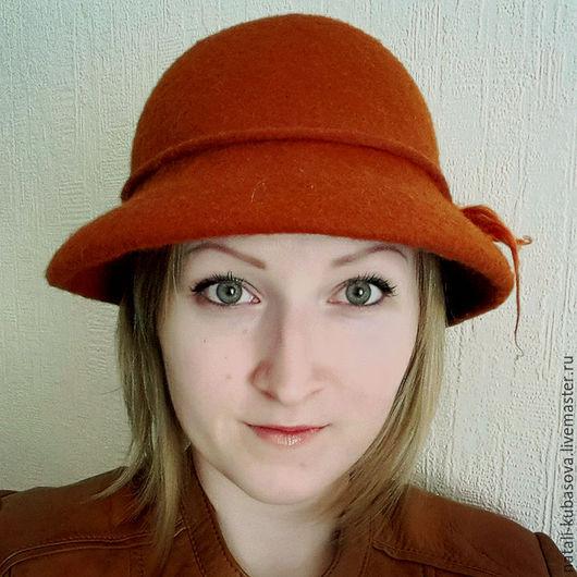 Шляпы ручной работы. Ярмарка Мастеров - ручная работа. Купить Шляпка с  двухсторонними полями. Handmade. Рыжий, шляпка женская