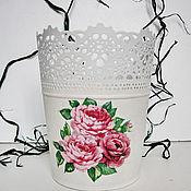 Цветы и флористика ручной работы. Ярмарка Мастеров - ручная работа Кашпо с розами. Handmade.