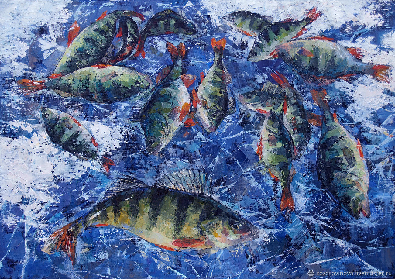 Oil painting the joy of the fisherman. Still life with fish, Pictures, Magnitogorsk,  Фото №1