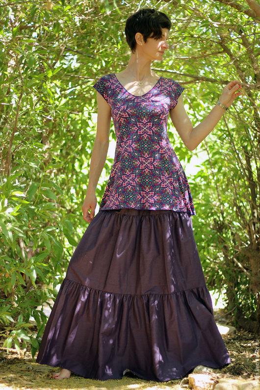 Юбки ручной работы. Ярмарка Мастеров - ручная работа. Купить Длинная трехярусная юбка фиолетовая. Handmade. Тёмно-фиолетовый