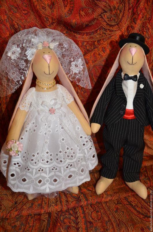 Куклы Тильды ручной работы. Ярмарка Мастеров - ручная работа. Купить Свадебные зайцы. Handmade. Чёрно-белый, фата, гипюр