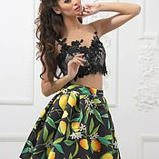 Одежда handmade. Livemaster - original item Skirt with crop lemons. Handmade.