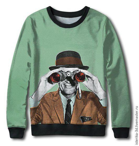 Кофты и свитера ручной работы. Ярмарка Мастеров - ручная работа. Купить Свитшот с принтом  Хипстер - модная одежда. Handmade.