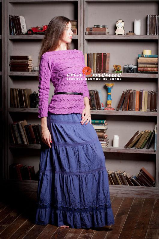 """Кофты и свитера ручной работы. Ярмарка Мастеров - ручная работа. Купить Джемпер """"Lily"""" из жгутов, связанных поперек. Handmade. Сиреневый"""